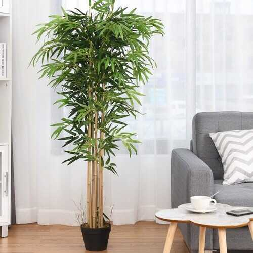 5-Feet Artificial Bamboo Silk Tree Indoor-Outdoor Decorative Planter