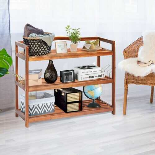 3-Tier Wood Shoe Rack Freestanding Shoe Storage Organizer