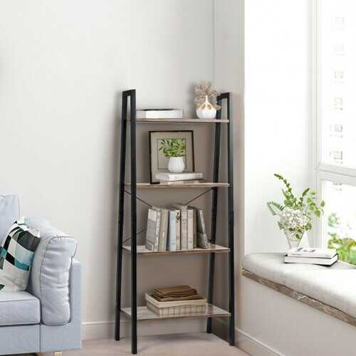 4-Tier Ladder Shelf Ladder Bookcase Bookshelf Display Rack Plant Stand