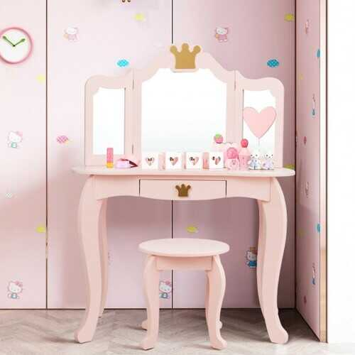 Kids Makeup Dressing Table with Tri-folding Mirror and Stool-Pink