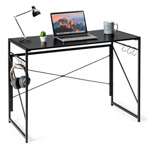 Folding Computer Desk Writing Study Desk Home Office with 6 Hooks-Black