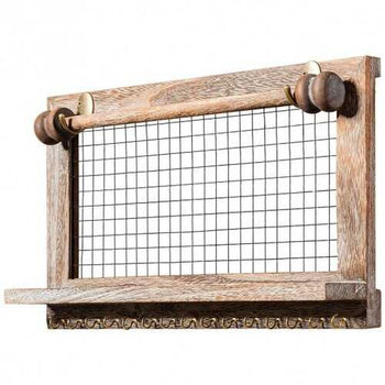 Vintage Wood Wall Mounted Jewelry Organizer Display Rack with Bracelet Rod-Brown