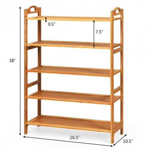 5-Tier Bamboo FreeStanding Shoe Rack-Natural