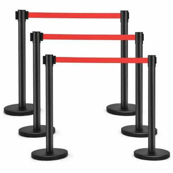 6 pcs Black Stanchion Posts Queue Pole