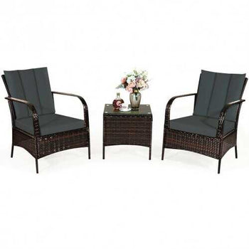 3 PCS Patio Rattan Furniture Set-Gray - Color: Gray