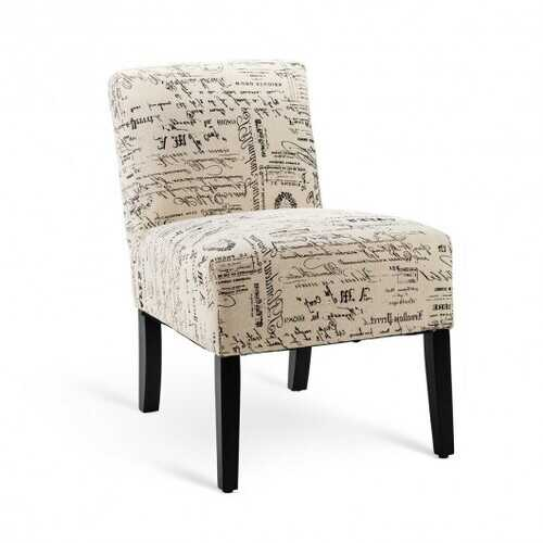 Armless Letter Print Fabric Chair with Solid Wood Legs