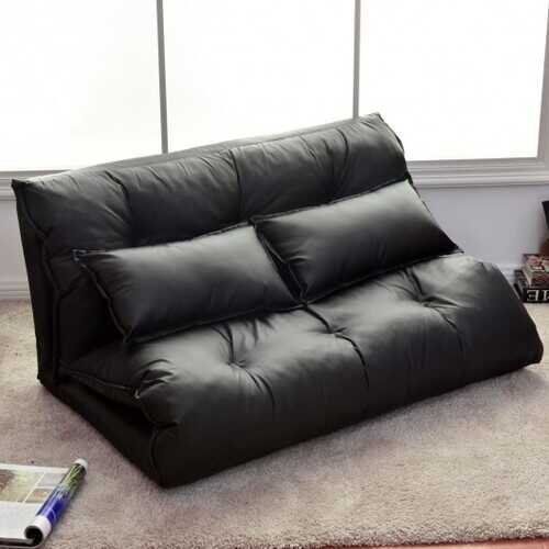 Foldable PU Leather Leisure Floor Sofa Bed w/ 2 Pillows