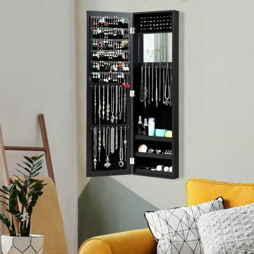 Wall Door Mounted Mirrored Jewelry Cabinet Storage Organizer-Black