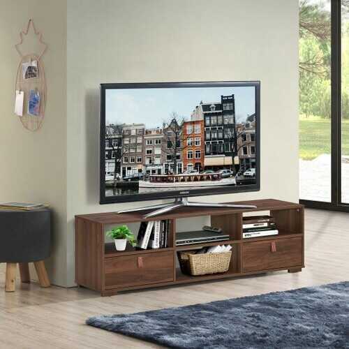 "TV Stand Entertainment Media Center Console for TV's up to 60"" with Drawers Walnut-Walnut"