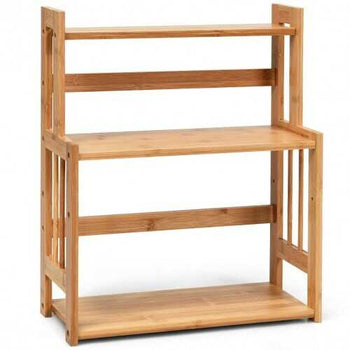 3 Tier Bamboo Spice Rack Storage Shelves for Kitchen Counter Storage