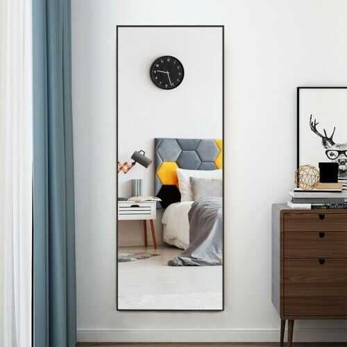 59''Full Length Mirror Large Rectangle Bedroom Mirror-Black