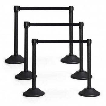 6 Pcs Stanchion Post Crowd Control Barriers Queue Pole with Retractable Belt-Black