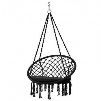 Macrame Cushioned Hanging Swing Hammock Chair-Black