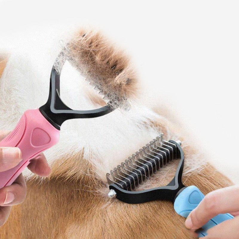 Hair Removal Comb for Dogs Cat Detangler Fur Trimming Dematting Deshedding Brush Grooming Tool For matted Long Hair Curly Pet