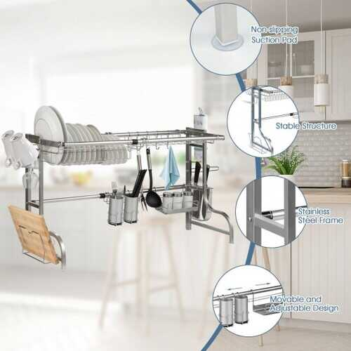 Stainless Steel Adjustable Dish Drainer Shelf