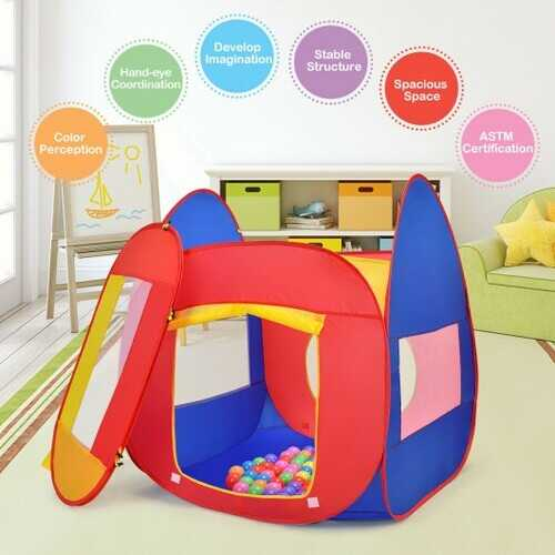 Portable Kid Play House Toy Tent with 100 Balls