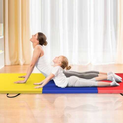 6' x 2' Exercise Tri-Fold Gymnastics Mat w/ Carrying Handles-Multicolor