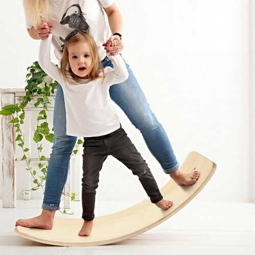 Wooden Wobble Balance Board Kids 35'' Rocker Yoga Curvy Board Toy with Felt Layer-Natural
