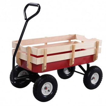 Outdoor Pulling Garden Cart Wagon with Wood Railing