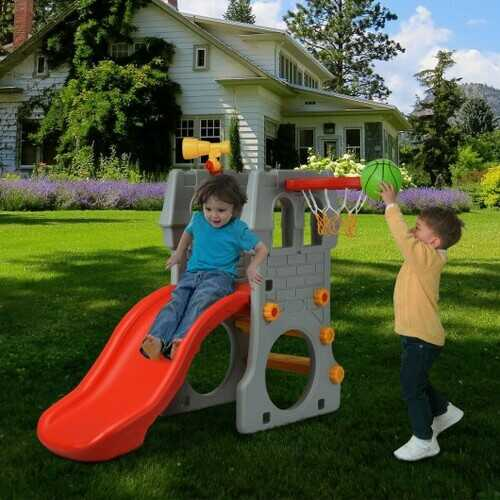Children Castle Slide with Basketball Hoop and Telescope