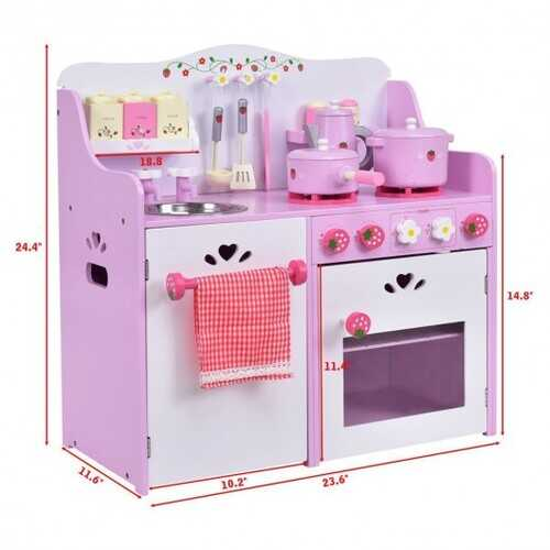 Kids Wooden Kitchen Toy Strawberry Pretend Cooking Playset