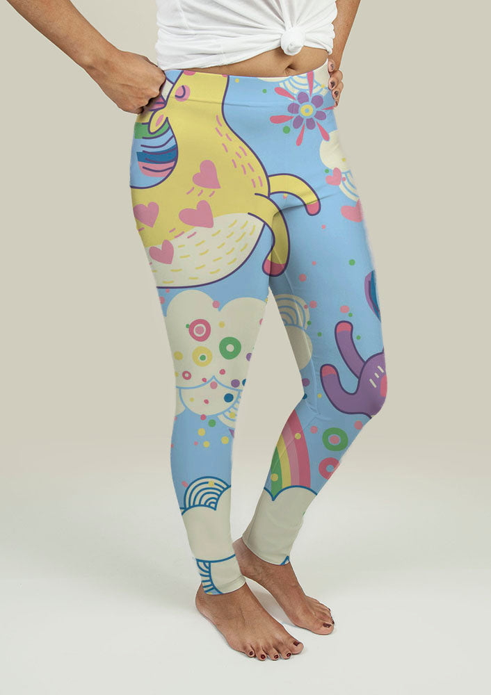Leggings with Rainbows and Unicorns in the Clouds