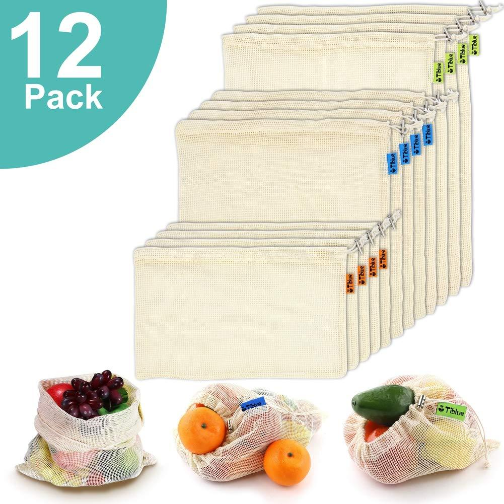 Organic Cotton Mesh Produce Bags, Set of 12