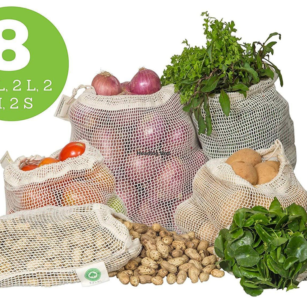 Cotton Mesh Bags for Vegetables Organic Cotton Mart, Set of 8