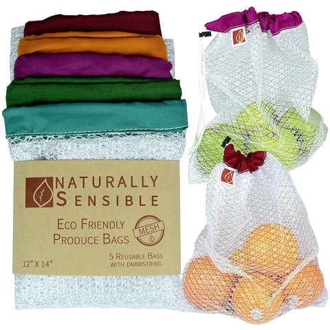 Organic Cotton mesh Produce Bags See Through and Washable Premium Set of 5