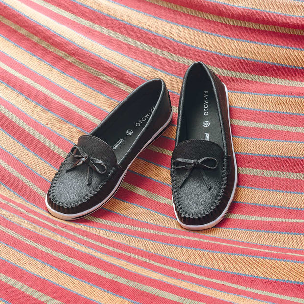 SUPERSOFT™ MOCA BOWTIE LOAFERS - BLACK