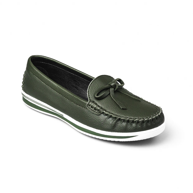SUPERSOFT™ MOCA BOWTIE LOAFERS - MOSSY GREEN