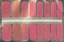 Load image into Gallery viewer, Gold Animal Prints in Pink Nail Wraps #75