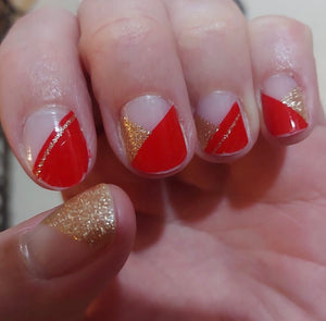 Red and Gold Nail Wraps #41
