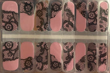 Load image into Gallery viewer, Pink Black Lace Nail Wraps #7