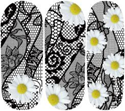 Black Lace Daisy Nail Wraps #157
