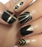 Load image into Gallery viewer, Black Gold Glitter Nail Wraps #47