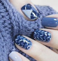 Load image into Gallery viewer, Blue Sweater Nail Wraps #118