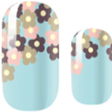 Teal Falling Flowers Nail Wraps #123