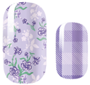Lilac Floral and Plaid Nail Wraps #42