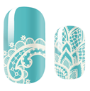 Load image into Gallery viewer, Teal Lace Nail Wraps #43