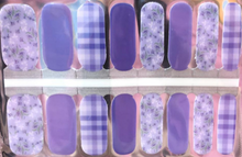Load image into Gallery viewer, Lilac Floral and Plaid Nail Wraps #42