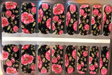 Load image into Gallery viewer, Roses on Black Nail Wraps #31