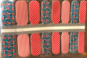 Roses and Stripes Nail Wraps #33