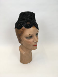 Original FABULOUS 1950s Black Topper Hat - Cutwork Details infilled With Veiling and Adorned With Bugle Beadwork