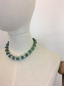 Original 1930's Glass Petal Necklace - In the Most Beautiful Soft Purples and Powder Blues