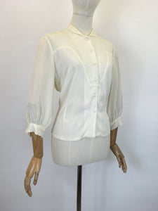 Original Late 1940's Cream Blouse - With Lovely Pleated Detailing To The Bodice