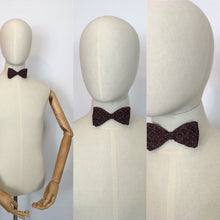 Load image into Gallery viewer, Original Men's Silk Clip on Bow Tie - In A Lovely Burgundy and Grey Geometric Print