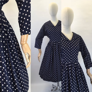 Original 1950s Lightweight Cotton Day Dress - In a Fabulous Deep Navy Polka Dot