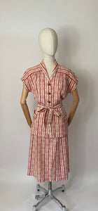 Original 1940's 3 pc Summer Suit - In a lovely Nautical Print in Red & Ivory