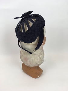 Original 1940s Navy Felt Topper Hat - Featuring Lattice and Weave Felt Work with Bow